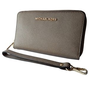 Michael Kors Taupe Zip Around Wallet Wristlet Phone Wallet